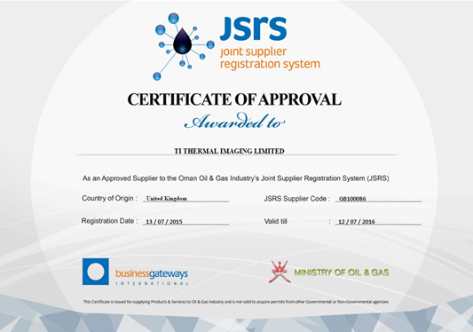 Ti Thermal Imaging JSRS approved supplier to Oman Oil and Gas industry Certificate